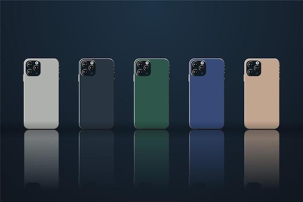 Smartphone dal design piatto in diversi colori Vettore Premium