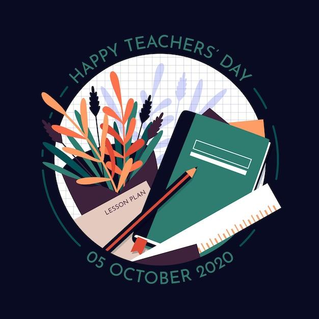 Concetto di giorno degli insegnanti di design piatto Vettore Premium