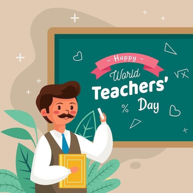 Giornata degli insegnanti di design piatto con l'uomo Vettore Premium