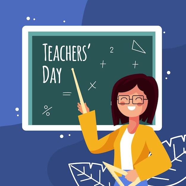 Giornata degli insegnanti di design piatto con illustrazione della donna Vettore Premium