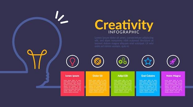 Infografica creatività modello design piatto Vettore Premium