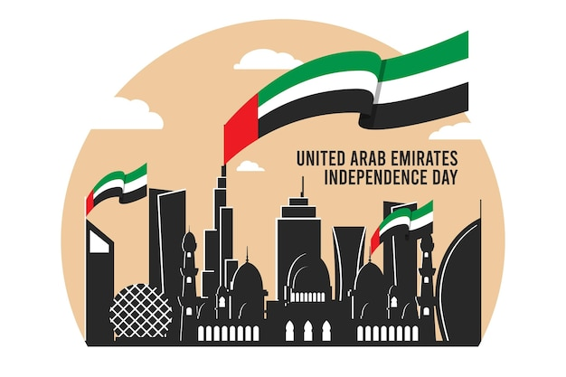 Design piatto giornata nazionale degli emirati arabi uniti Vettore Premium