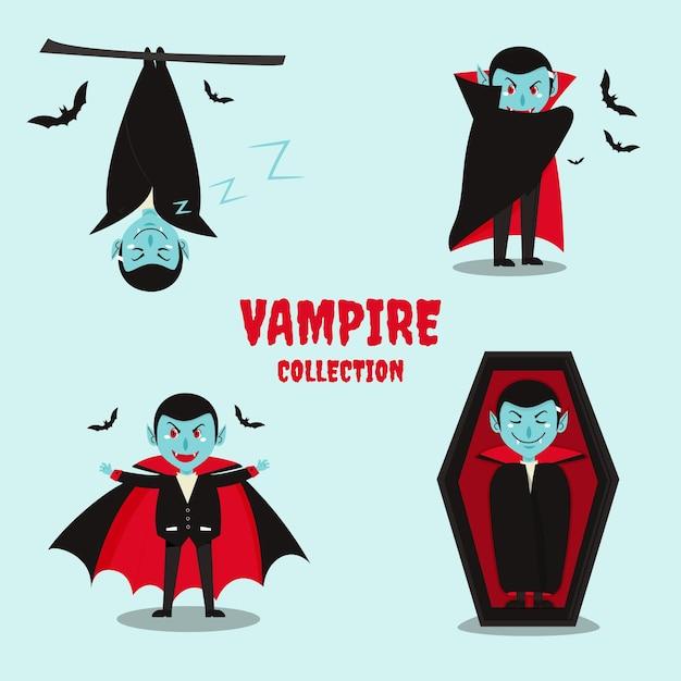 Pacchetto personaggio vampiro design piatto Vettore Premium