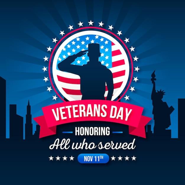 Giornata dei veterani di design piatto Vettore Premium