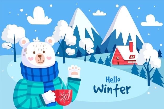 Sfondo invernale design piatto Vettore Premium