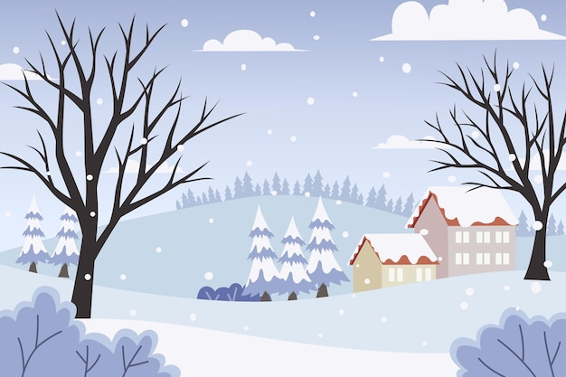Paesaggio invernale design piatto Vettore Premium