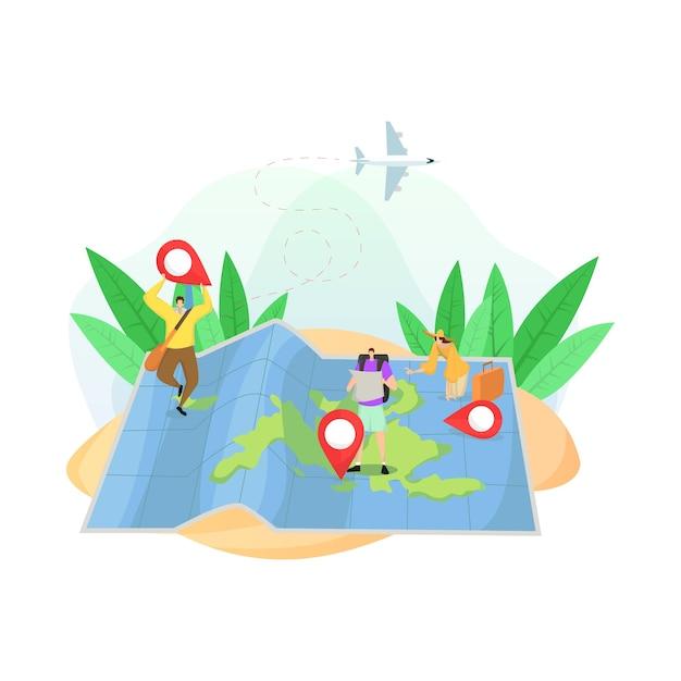 Design piatto con mappa di lettura turistica e luoghi famosi Vettore Premium