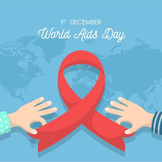Simbolo di giornata mondiale contro l'aids design piatto con mappa Vettore Premium
