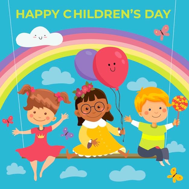 Giornata mondiale dei bambini di design piatto Vettore Premium