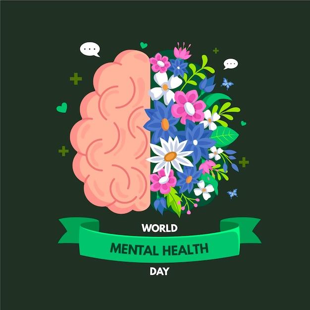 Evento della giornata mondiale della salute mentale di design piatto Vettore Premium