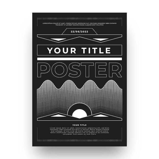 Design piatto del poster y2k Vettore Premium