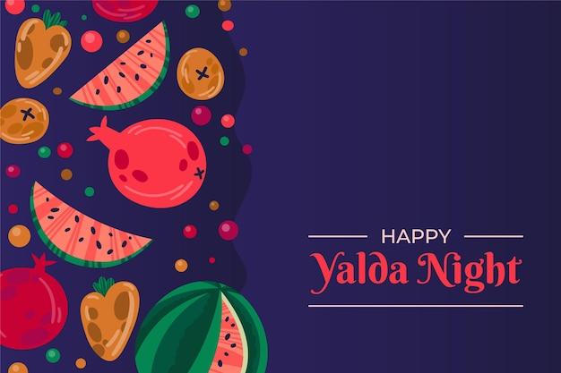 Sfondo di yalda design piatto con frutti Vettore Premium