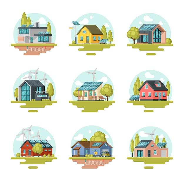 Det piatto di case moderne e tradizionali eco-compatibili. edifici residenziali con pannelli solari, turbine eoliche Vettore Premium
