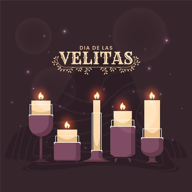 Candele piatte dia de las velitas illustrate Vettore Premium