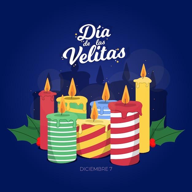 Celebrazione piatto día de las velitas Vettore Premium