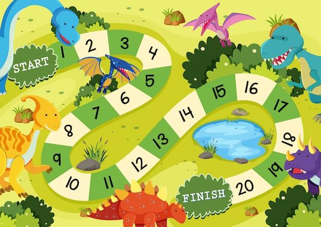Modello di gioco da tavolo dinosauro piatto Vettore Premium