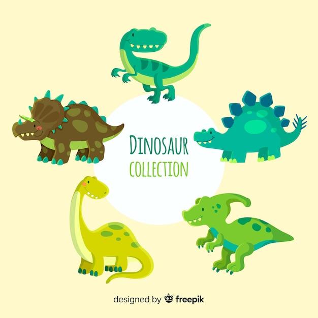 Collezione di dinosauri piatti Vettore Premium