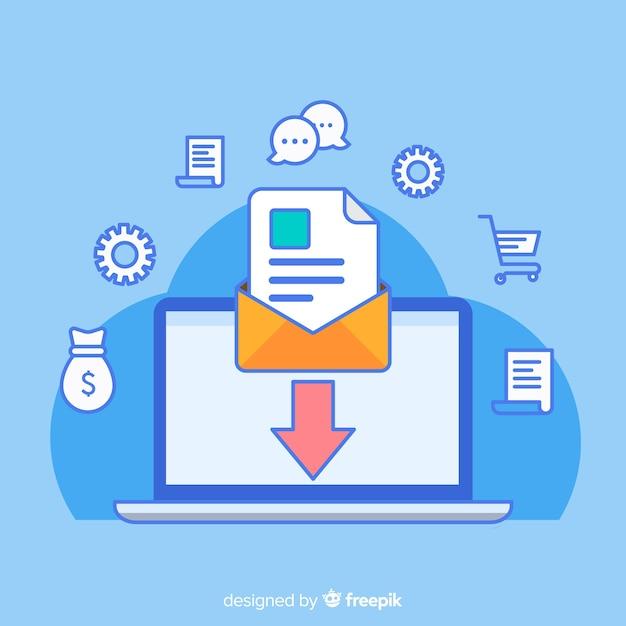 Marketing e-mail piatto Vettore Premium