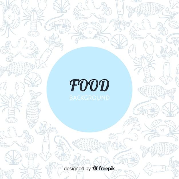 Sfondo di cibo piatto Vettore Premium