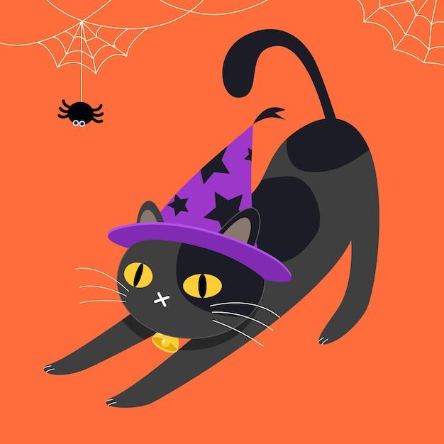 Illustrazione del gatto di halloween piatto Vettore Premium