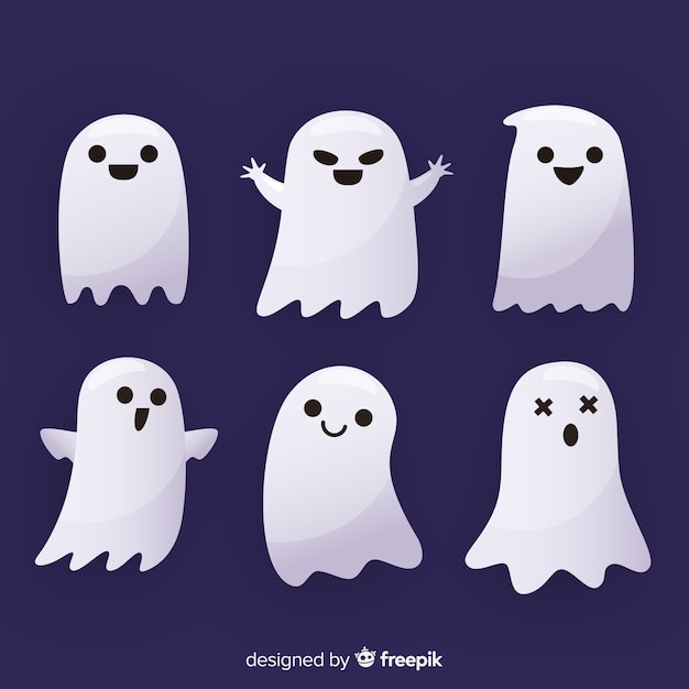 Collezione di fantasmi di halloween piatta Vettore Premium