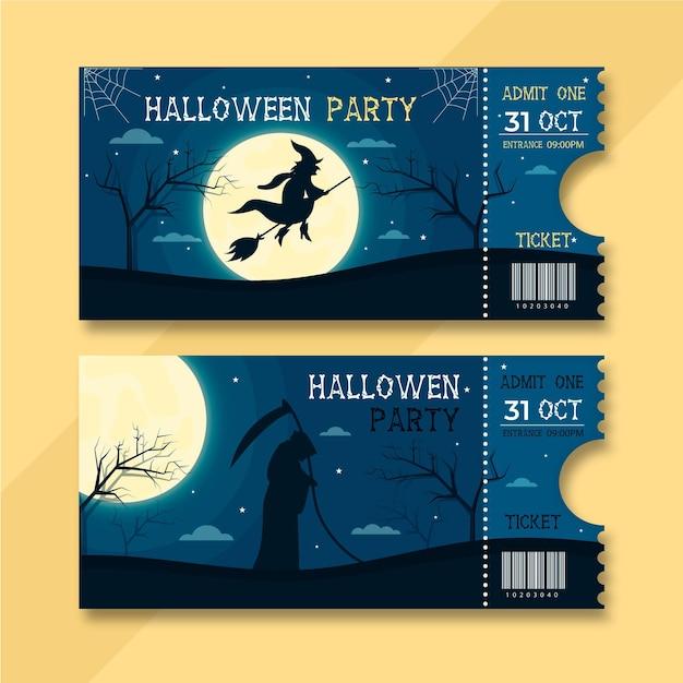 Illustrazione di biglietti di halloween piatto Vettore Premium