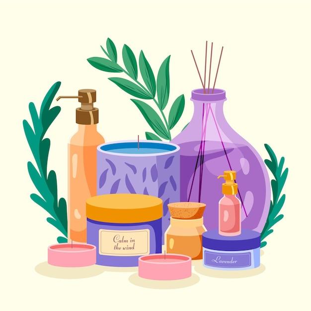 Raccolta di illustrazione dell'elemento di aromaterapia disegnata a mano piatta Vettore Premium