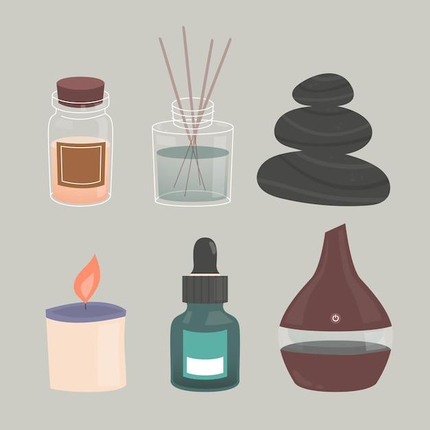 Pacchetto di elementi di aromaterapia disegnati a mano piatta Vettore Premium