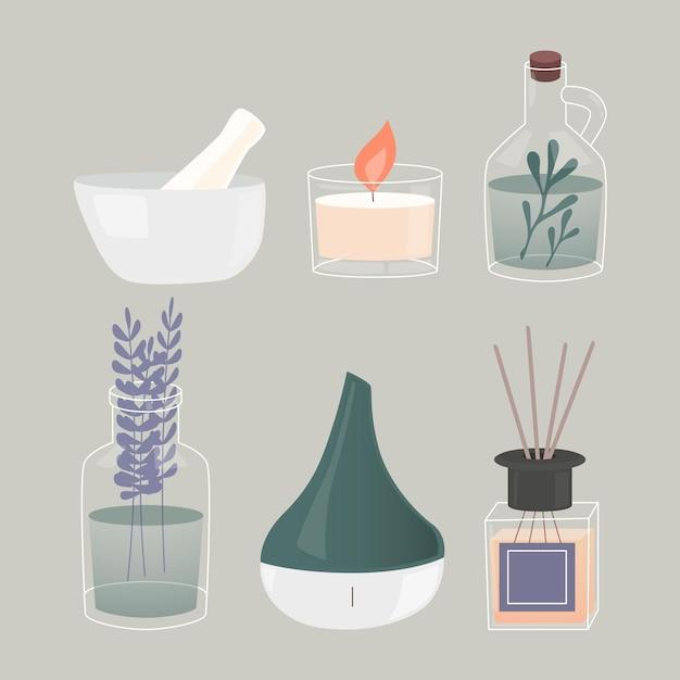 Insieme di elementi di aromaterapia disegnati a mano piatta Vettore Premium