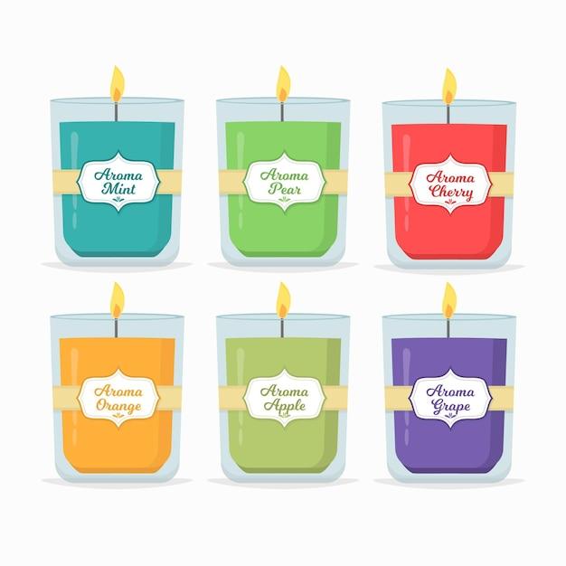 Confezione di candele profumate disegnate a mano piatta Vettore Premium