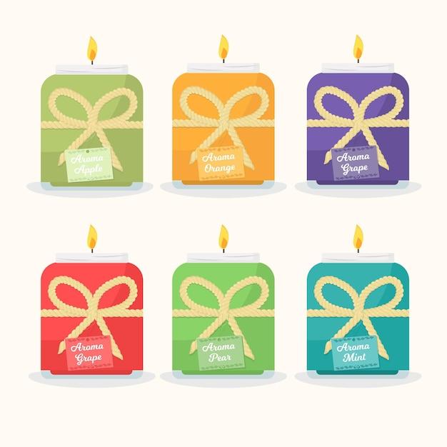 Set di candele profumate disegnate a mano piatta Vettore Premium