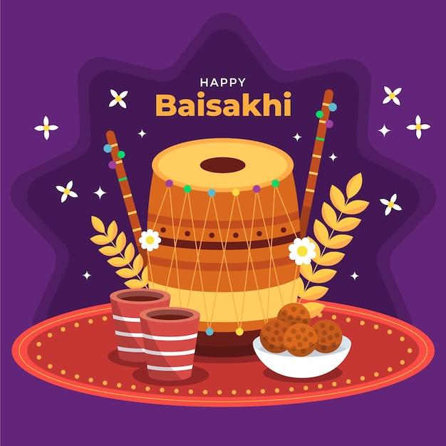 Piatto baisakhi felice illustrazione Vettore Premium