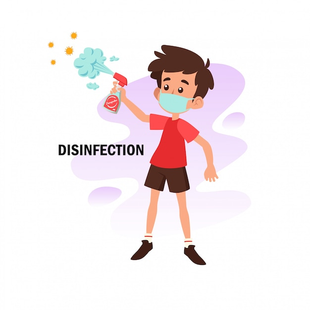 Illustrazione piatta del personaggio facendo disinfezione per la prevenzione da virus corona Vettore Premium