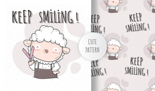 Illustrazione piana stile carino barbiere di pecore Vettore Premium