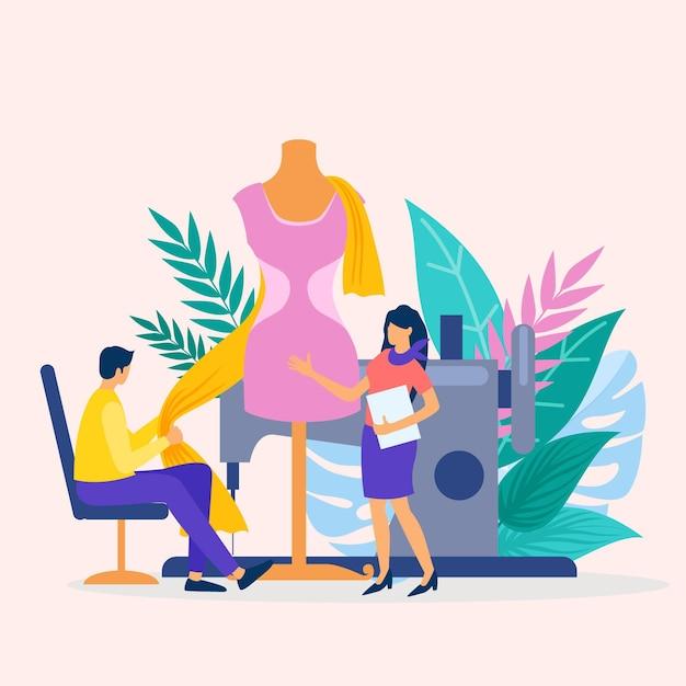 Piatto illustrazione fashion designer concept Vettore Premium