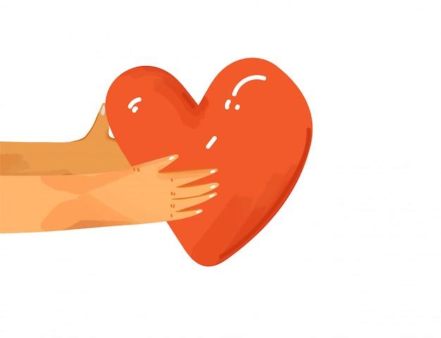 Illustrazione piatta mani umane che condividono amore, sostegno, apprezzamento reciproco. mani che danno il cuore in segno di connessione e unità. concetto di amore isolato Vettore Premium