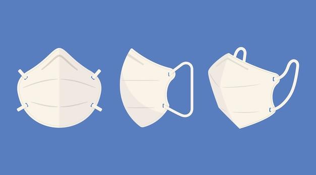 Maschera facciale piatta kn95 in diverse prospettive Vettore Premium