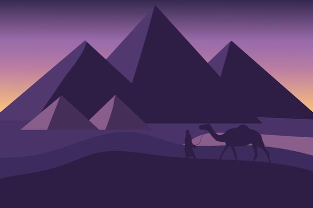 Paesaggio piatto le piramidi d'egitto in una giornata molto bella Vettore Premium
