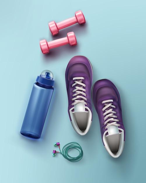 Illustrazione piatta laici di scarpe da ginnastica manubri bottiglia d'acqua Vettore Premium