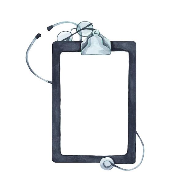 Piatto di stetoscopio e blocco per appunti di carta per appunti con copia spazio, concetto medico e sanitario, vista dall'alto. illustrazione dell'acquerello. Vettore Premium