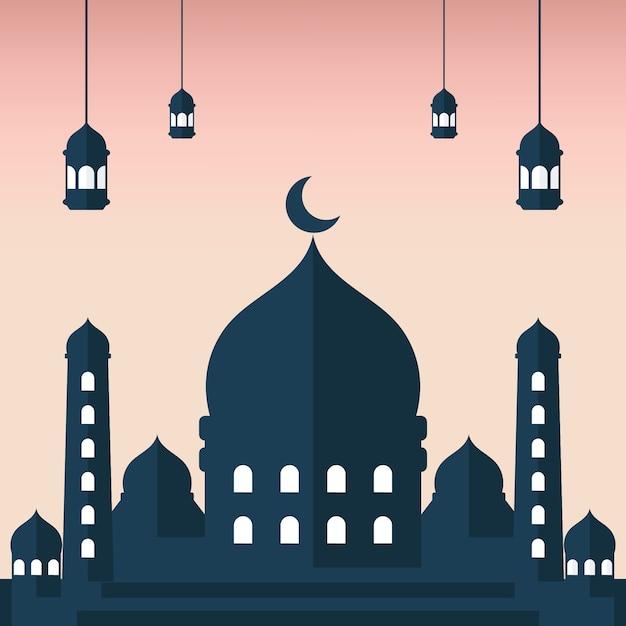 Illustrazione piana della siluetta di masjid con la siluetta rosa del fondo e della lanterna Vettore Premium