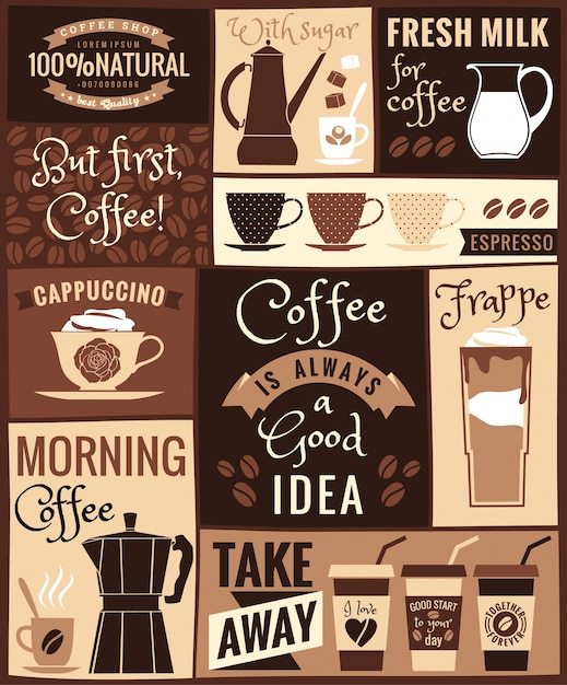 Poster moderno piatto con argomenti di caffè. Vettore Premium