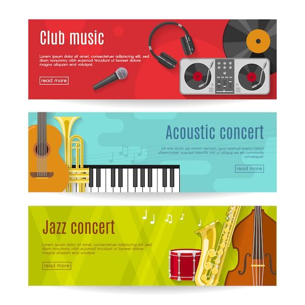 Set di banner musica piatta Vettore Premium