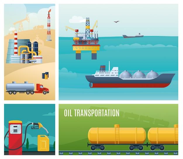 Composizione variopinta di industria petrolifera piana con i carri armati della benzina della ferrovia della pianta di raffineria della scatola metallica della stazione di servizio della piattaforma di perforazione del mare della nave cisterna Vettore Premium