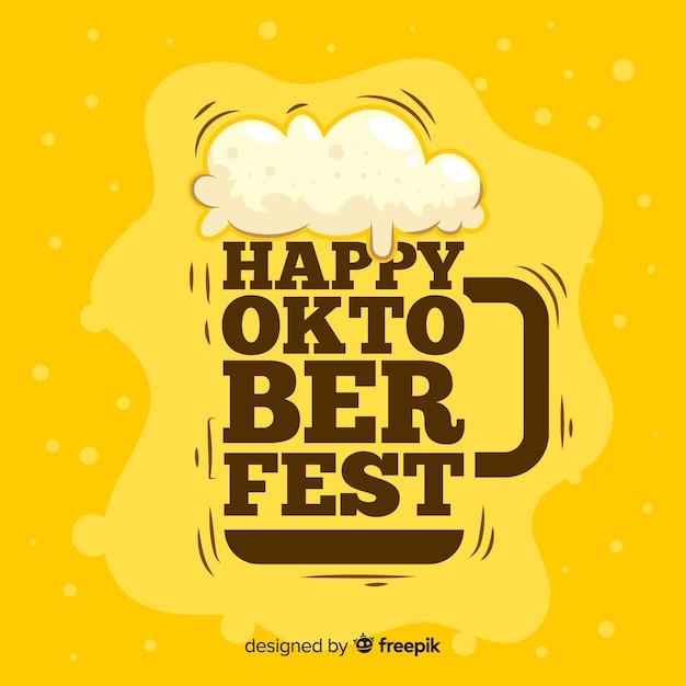 Birra alla spina piatta più oktoberfest con scritte Vettore Premium