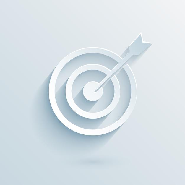 Bersaglio di carta piatta con illustrazione vettoriale dardo per il business Vettore Premium