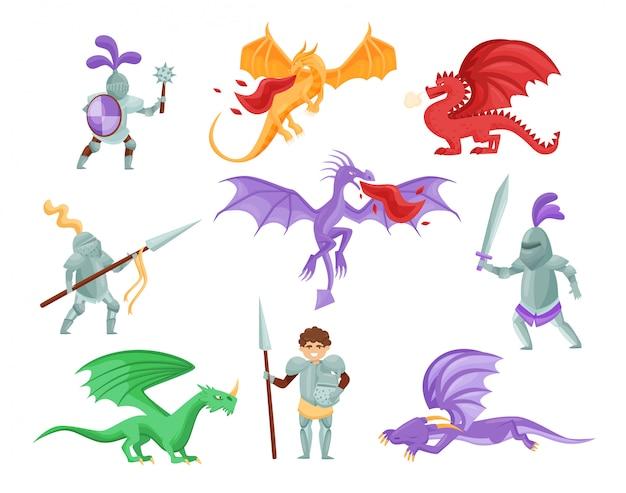 Set piatto di draghi e cavalieri medievali. guerrieri in armatura di ferro. mostri mitici con grandi ali Vettore Premium