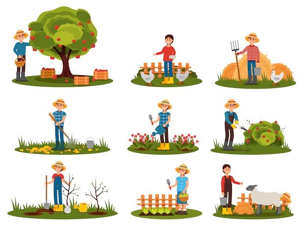 Set piatto di caratteri contadino lavorando all'aperto. persone impegnate nel giardinaggio. uomo raccolta mele. donna che alimenta animali da fattoria Vettore Premium