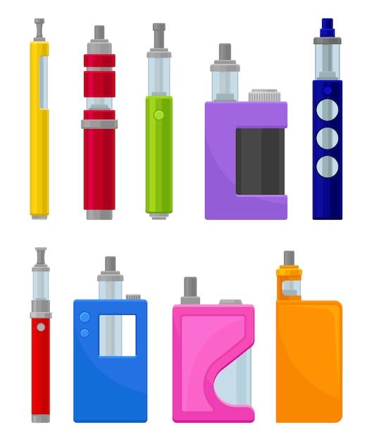 Set piatto di vari tipi di sigarette elettroniche. dispositivi moderni per lo svapo. attrezzatura hipster per fumare Vettore Premium