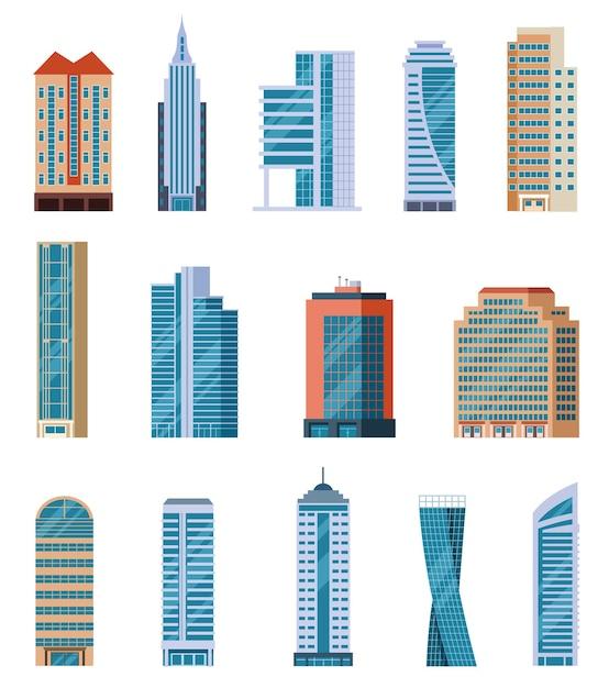 Grattacieli piatti. edifici alti della città moderna. esterno di case residenziali e uffici. insieme di vettore del fumetto isolato blocchi di appartamenti. illustrazione costruzione grattacielo, architettura edificio alto Vettore Premium